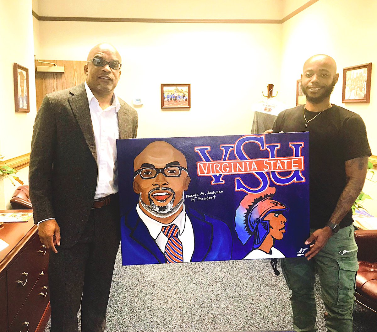 Made it to my alma mater Virginia State University this morning and got a chance to converse with the man himself @makolaabdullah. It was an honor to do this for you and hand deliver it to you myself. I love my HBCU  #vsu #hailstate<br>http://pic.twitter.com/h88iVTU4dw