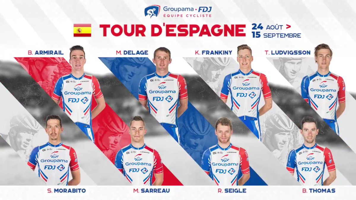 Groupama-FDJ. A team which did great things in the past years here but this time, they didn't bring any top guy...Marc Sarreau can sprint to a top 5 and that's pretty much it. No high expectations, no pressure. #LaVuelta19