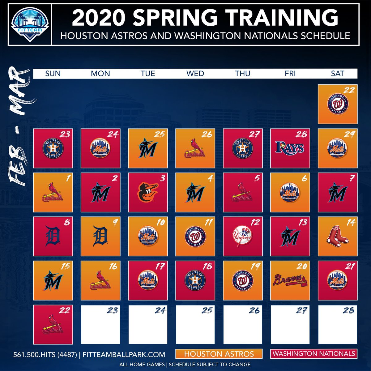 Nationals Schedule 2020.Fitteam Ballpark Of The Palm Beaches On Twitter Mark Your
