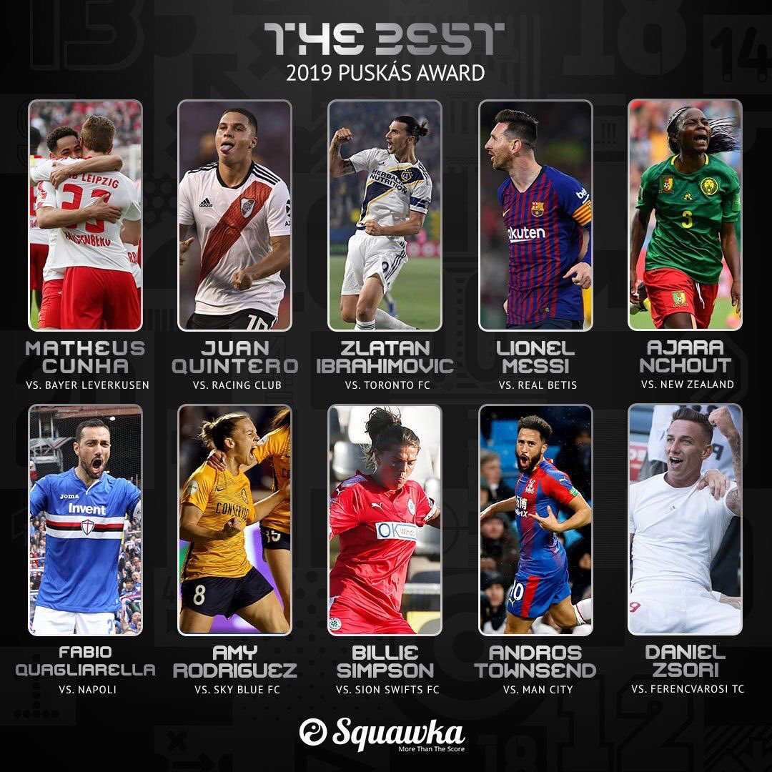 Los 10 Goles Nominados al Premio Puskás 2019 de la FIFA