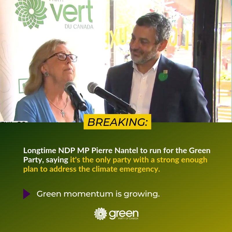 Longtime NDP MP @pierrenantel joins the Green team!  He's joining the party of climate action, because his constituents want climate leadership.   #CdnPoli <br>http://pic.twitter.com/JbgaJdbt2y