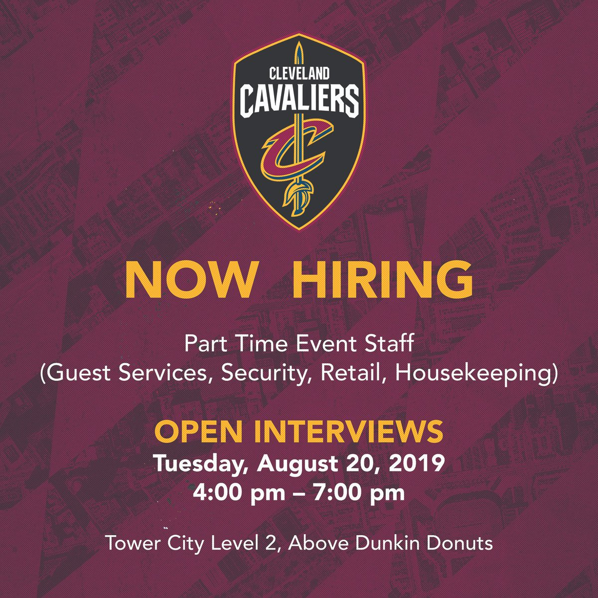Now hiring! Friendly reminder: open interviews for part time event staff will take place tomorrow, August 20th from 4:00 p.m. - 7:00 p.m. at Tower City Center. See you there 😊