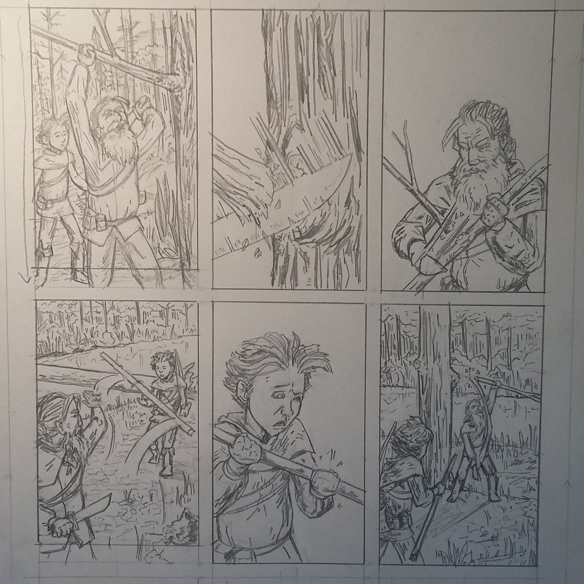 another page on the board. this one has been a bit of a wrestling match, and minus a couple cropping issues i feel pretty good about how it's coming together.  #sequentialart #visualstorytelling #makingcomics #comicbookpage #historicalfantasy #penciling<br>http://pic.twitter.com/sEr4cQROn4