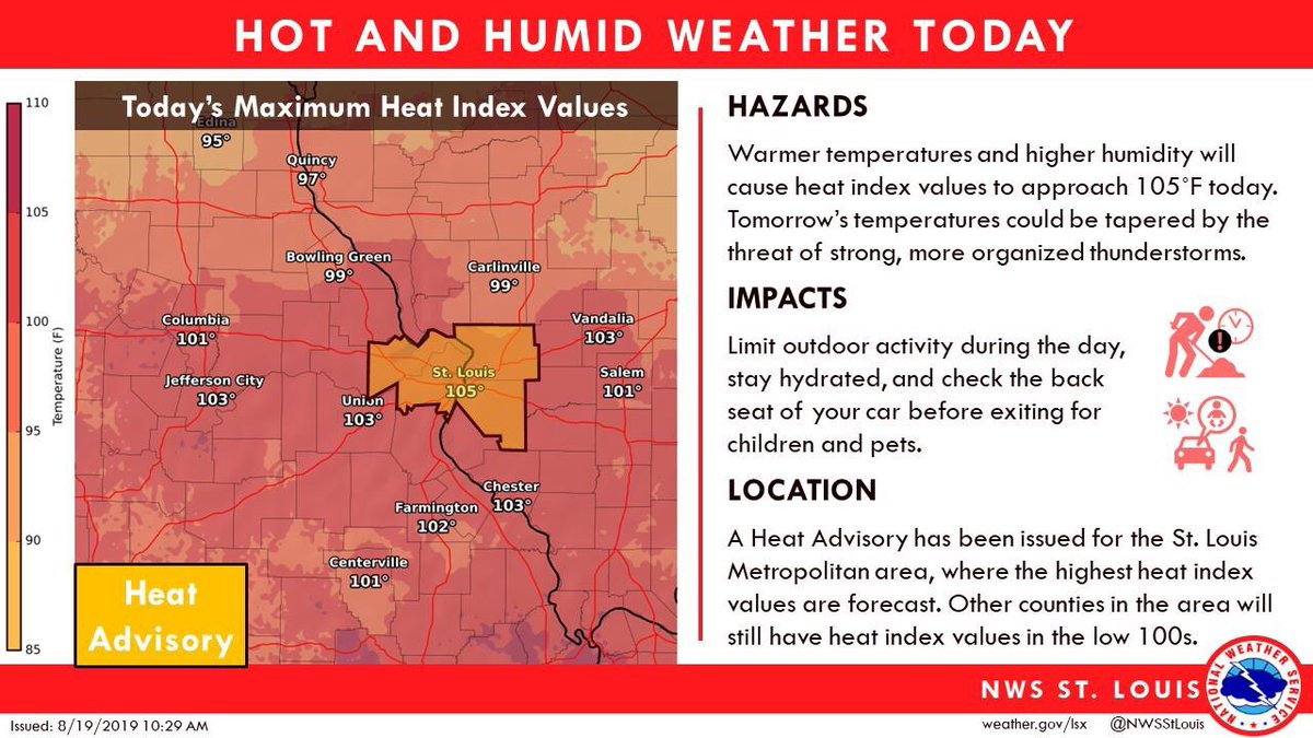 . @NWSStLouis issued a heat advisory for the Metro area until 8pm tonight. Stay safe, hydrate and check on your neighbors! ✅ if you need an air cond or help with utilities contact @CoolDownStLouis ✅ for cooling locations 211helps.org/cooling-sites ✅ for emerg shelter call 211