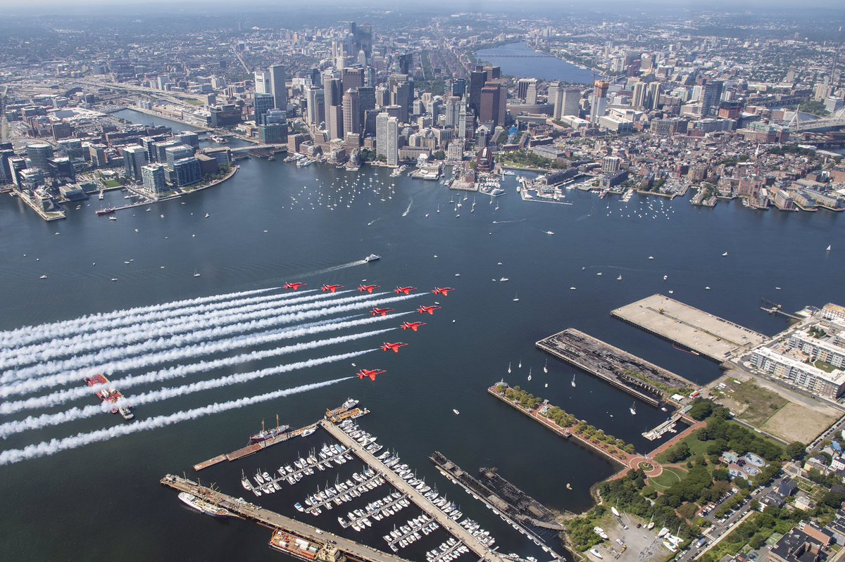 Great view of #Boston from @RAFRed10's jet - image by Sgt Ashley Keates. #RedArrowsTour