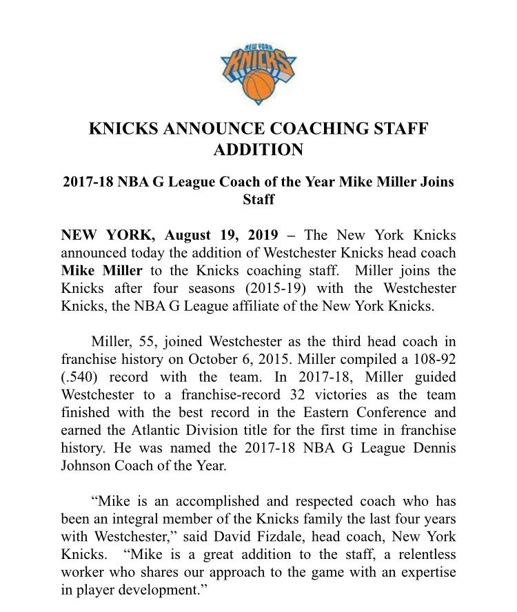 Keeping it in the family…it's official, Mike Miller joins @NYKnicks as assistant coach.