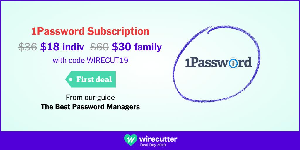 Our top password manager pick, 1Password, is down to $18 (from $38) for an Individual plan or $30 (from $60) for a Family plan w/ code WIRECUT19 for #wirecutterdealday. More deal info: http://wrctr.co/2KMIQ6z Buy: https://wrctr.co/2ZdRsfC