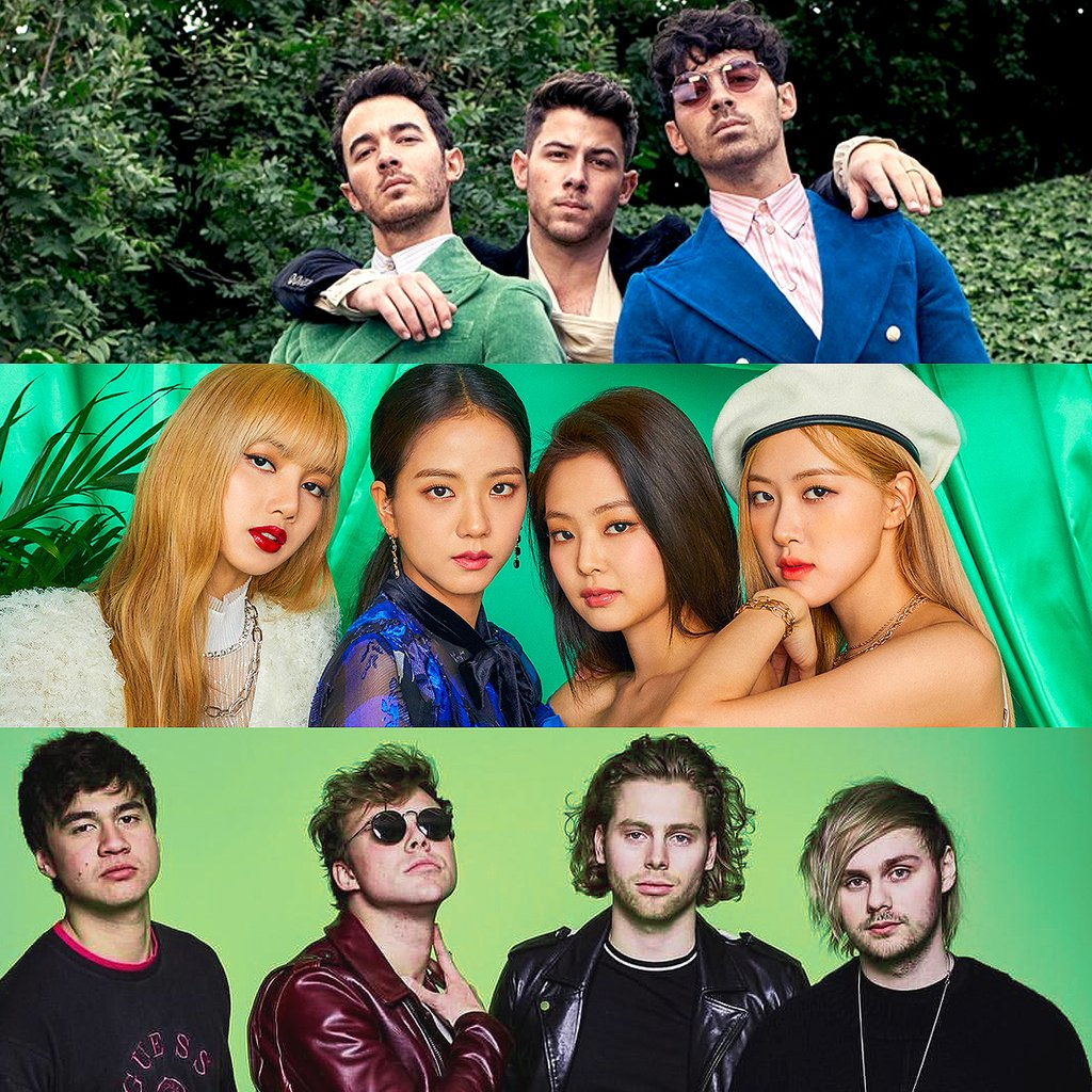 Three of our faves are nominated for #BestGroup at the VMAs! Who has your vote? #JonasBrothers #BLACKPINK #5SOS