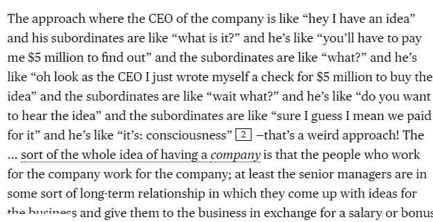 I was sad that @matt_levine was on vacation during the WeWork S-1 news, but it was worth the wait: https://www.bloomberg.com/opinion/articles/2019-08-19/we-looks-out-for-our-selves…