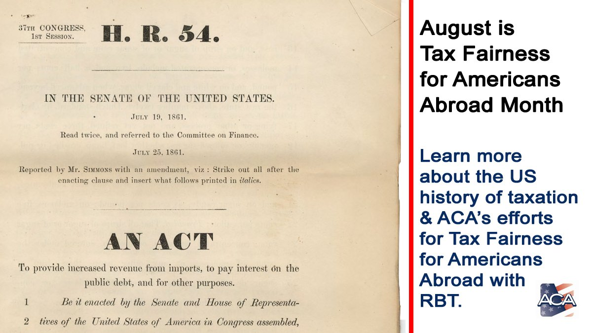 Did you know that August marks the 158 years ago that incometaxwas instituted? Over time it has been repealed, revised and reformed. The time has come for Residence-basedtaxation(#RBT). http:// bit.ly/AugustTaxFairn essMonth  …  #taxation#taxreform ##AmericansAbroad #expats #AmericansOverseas<br>http://pic.twitter.com/jROo1q1cjH