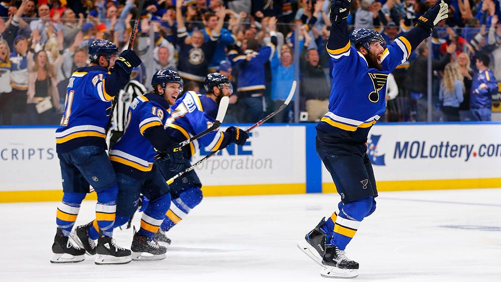 The most popular NHL photo in the last 12 months? @patmaroons double-overtime goal in #Game7 of @StLouisBlues Second Round series. He became third player in team history to score a series-clinching goal in a game that required multiple overtimes. #NHLStats #WorldPhotographyDay