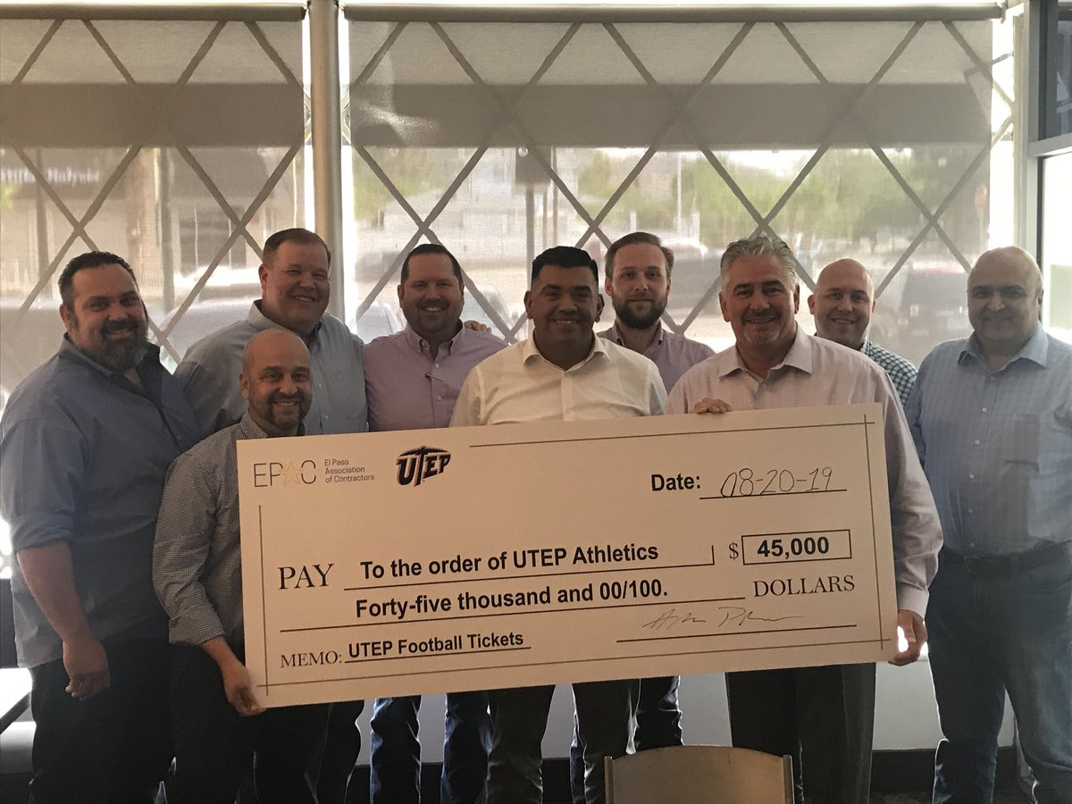 Very exciting to receive a check from the El Paso Association of Contractors #EPAC  for the purchase of 9,000 tickets to ⁦@UTEPFB⁩ home opener vs Houston Baptist University on Aug 31st. Don't miss this game El Paso we are: #Elpasostrong <br>http://pic.twitter.com/s3h8No57KA