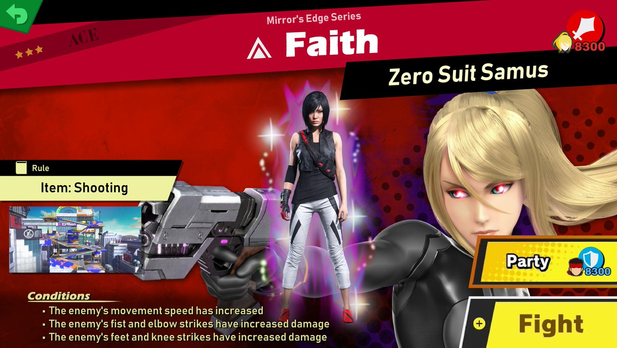 """Faith Spirit  Main enemy: Zero Suit Samus Stage: Moray Towers Song: Yell """"Dead Cell"""" - Metal Gear Solid 2: Sons of LIberty  #GaleemSpiritLibrary #MirrorsEdge #SuperSmashBrosUltimate <br>http://pic.twitter.com/mx38lGEK5W"""