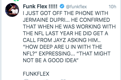 Content of the tweet aside, love that Funk Flex has exclamation points in his handle, tweets in all caps and signs his tweets like an email
