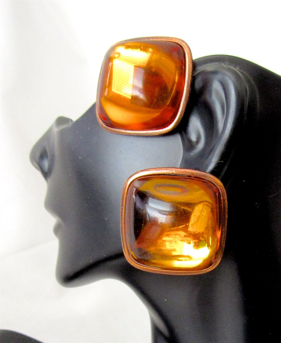 Vintage Signed YSL Yves Saint Laurent Amber Colored Poured Glass Clip Earrings, only on eBay! <br>http://pic.twitter.com/CRyVP6HDwF
