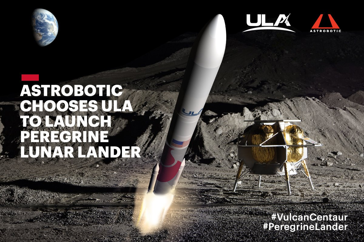 .@astrobotic selects ULA's next-gen #VulcanCentaur rocket in a competitive commercial procurement to launch its #PeregrineLander to the moon in 2021! bit.ly/2Z0Sqg4