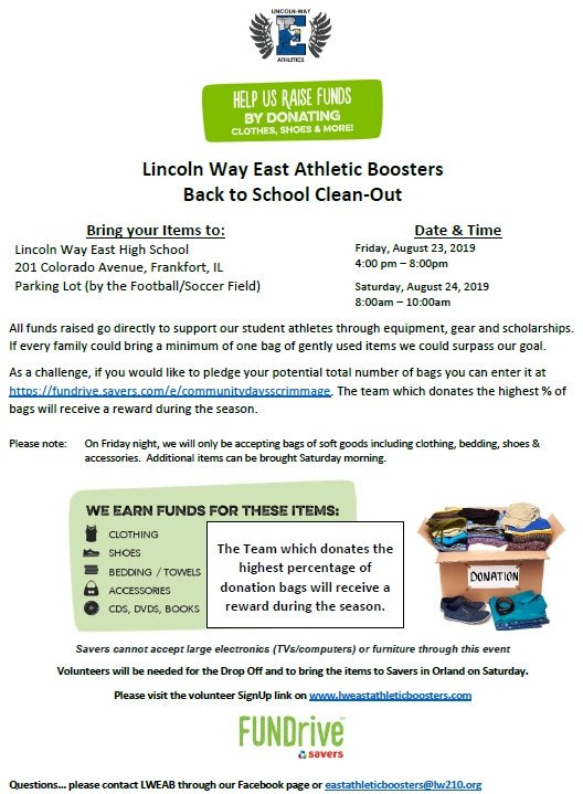 Please support Athletic Boosters and bring in donations this Friday at our Fall Athletic Community Night and during the morning on Saturday. Clean out the garage, closets, etc. and help support Lincoln-Way East Athletics. Info below: