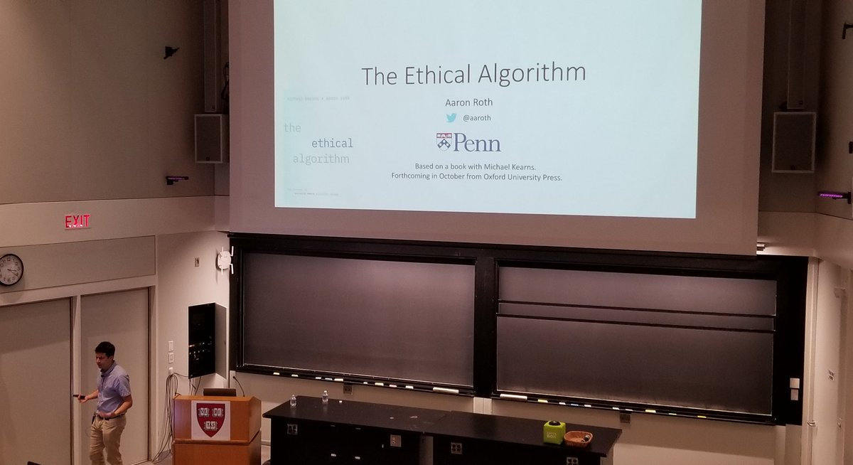 ".@Aaroth of @Penn introduces us to ""The Ethical Algorithm"" | @HarvardCMSA #BigData  http:// cmsa.fas.harvard.edu/2019-big-data/    <br>http://pic.twitter.com/ePu9mxxfl5"