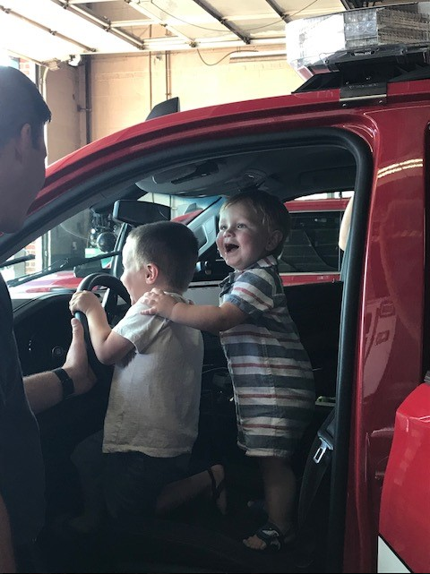 Incredible. This little boy, Cameron, was resuscitated by @SalemFD just over a week ago, pulled unresponsive from a swimming pool in Salem NH; first responders restarted his heart, and breathing. And here he is visiting the Department with his grateful family today..