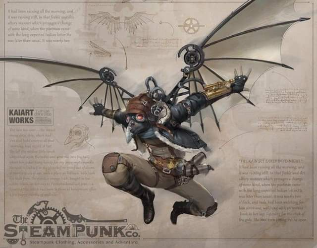 #Artwork Awesome of the Day: #Steampunk ⚙️ Flying Character #Illustration 🖼️ via @JasonBorrego123 #SamaArt