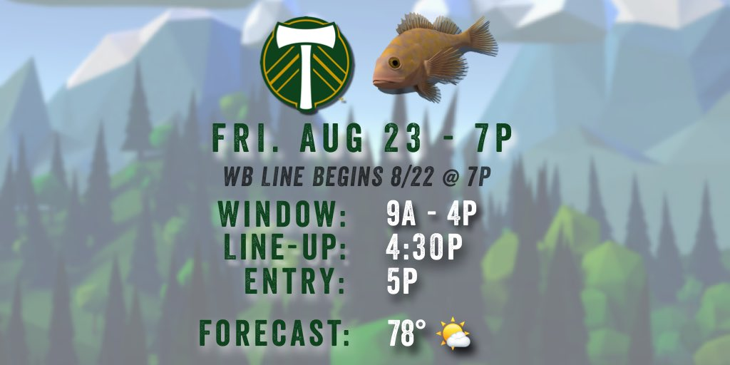 Here are your WB and line times for #PORvSEA on Friday 8/23 #RCTID    <br>http://pic.twitter.com/XoykKNy3ke