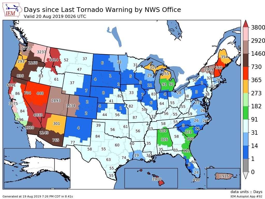The latest look at the number of days since the last Tornado Warning was issued by NWS office across the United States! #Tornado