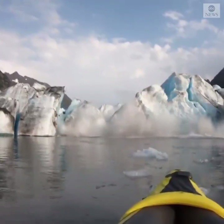 """""""We survived. But that was insane.""""A kayaker's incredible footage captures the moment part of Alaska's Spencer Glacier suddenly collapsed into the sea. https://abcn.ws/31MNLeu"""