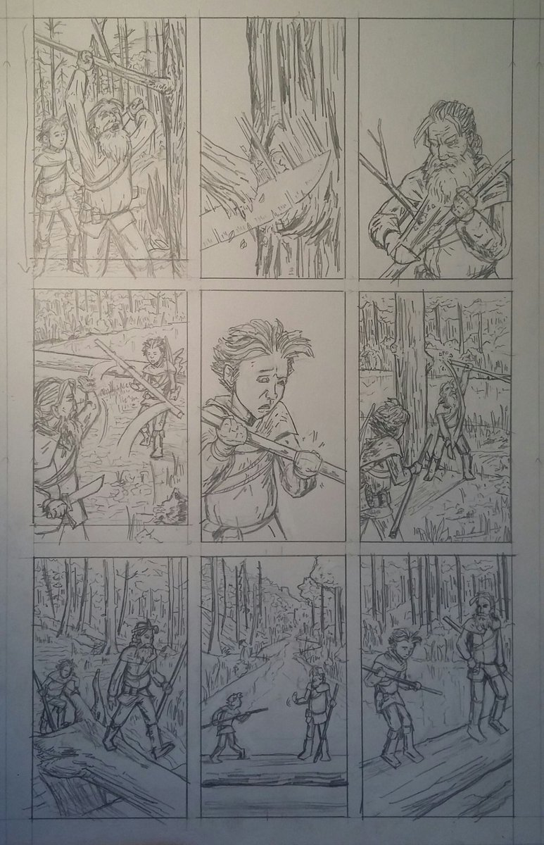 as done as the paper is gonna let this page get. a few finishes and tweaks to do when i ink.   #sequentialart #visualstorytelling #makingcomics #comicbookpage #historicalfantasy #penciling<br>http://pic.twitter.com/Th4KgNytZK