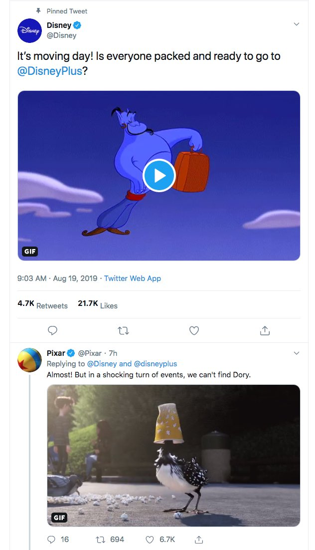 Clever social media: @Disney got all their @disneyplus properties to reply on the same thread to announce the launch of the Disney+ Twitter handle. All one long convo, each handle on brand.