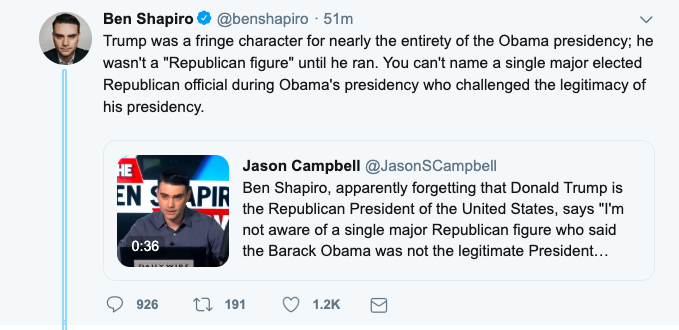 It cannot be emphasized enough that Ben Shapiro is an utter fraud, one who benefits from mainstream outlets that lower their standards in order to give him a niche as a respectable conservative.