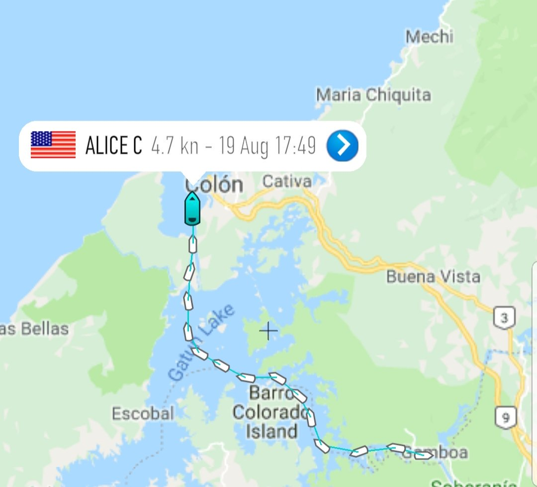 Alice C with JRTI in tow has officially departed the Panama Canal and is in the Atlantic. Lets see where she ends up. Hopefully in @PortCanaveral 😏 #SpaceXFleet