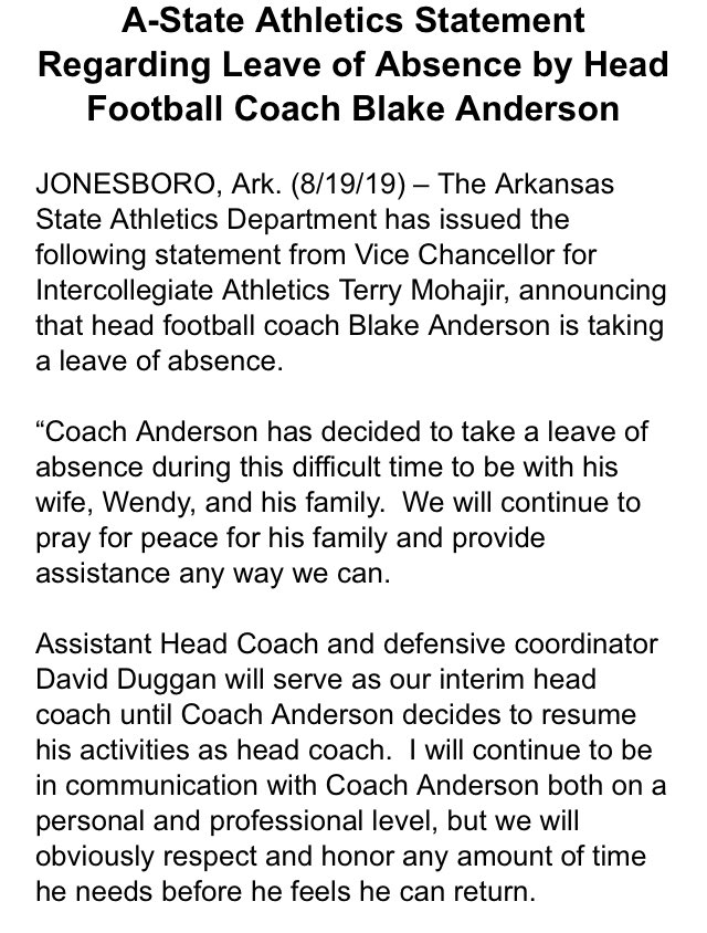 College Football Coach Taking Leave Of Absence To Be With Sick Wife