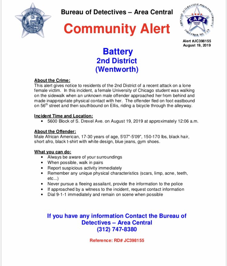 COMMUNITY ALERT: Battery of @UChicago Student @ChicagoCAPS02 #ChicagoPolice