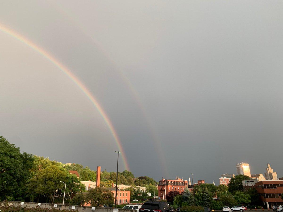HAPPENING NOW: Massive double #rainbow over the #Providence skyline. 🌈 @ABC6 @jdesnoyersabc6 #PVD #RI #afterthestorm