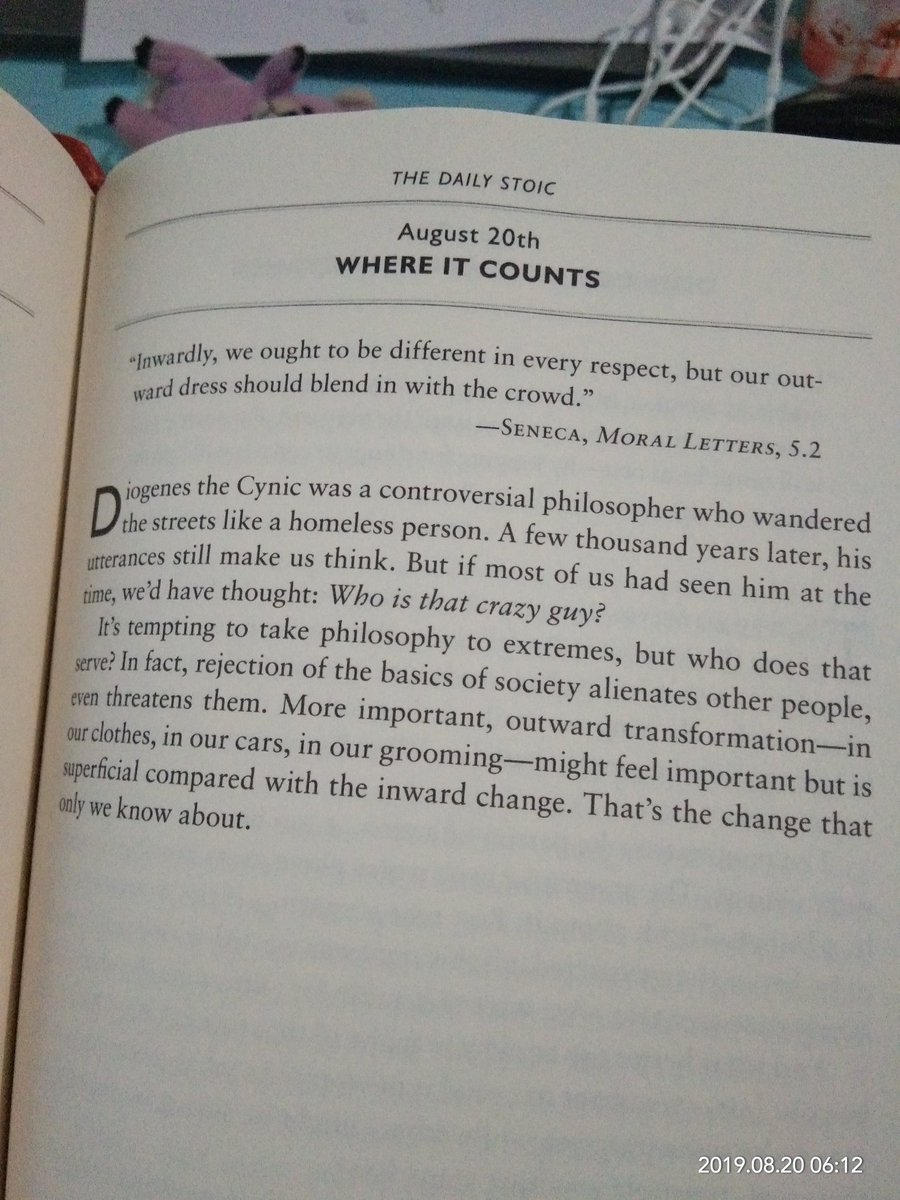 Inwardly, we ought to be different in every respect, but our outward dress should blend in with the crowd. —SENECA, MORAL LETTERS, 5.2 @dailystoic @RyanHoliday