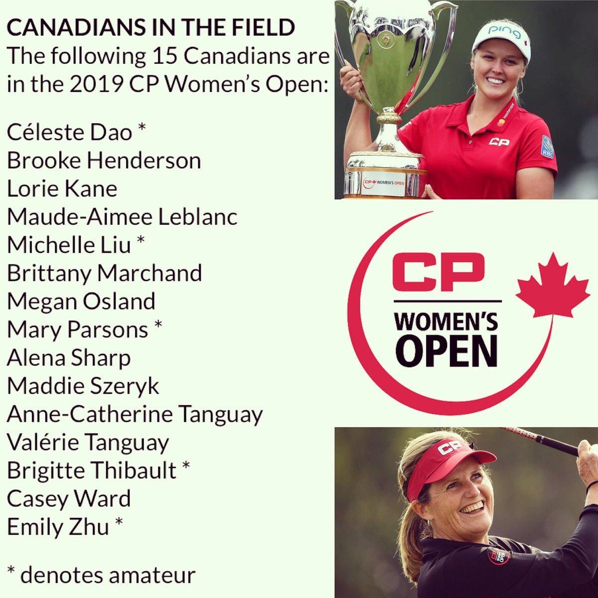 15 Canadians will compete in this years @cpwomensopen Here is the complete list. #LPGA #CPWomensOpen<br>http://pic.twitter.com/f5PX2bcSDF