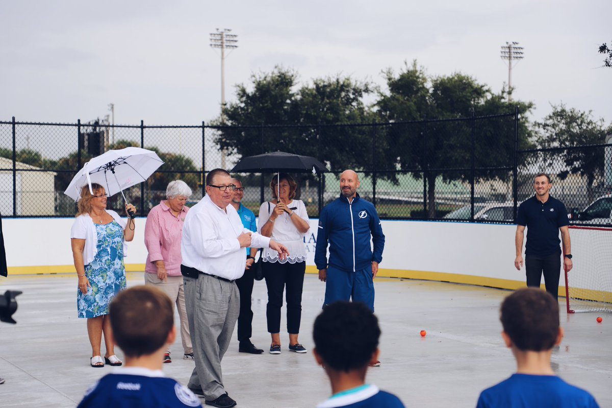 We're excited to announce the first of ten @LightningMade outdoor hockey rinks is officially open at @LakewoodRanch Park! ⚡️