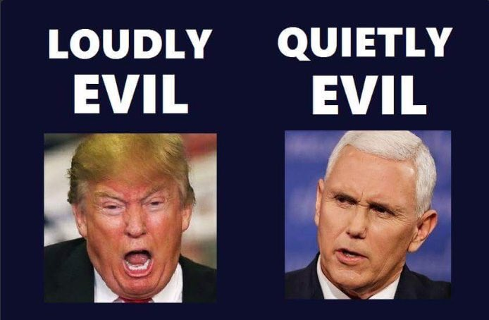 Cut from the same authoritarian cloth, #DonTheCon and #NoddingMike both think that anything they do in furtherance of their goals is allowable. For Pence, it's because God spoke to him and told him that he was destined to be President one day.<br>http://pic.twitter.com/nTUUPF8ZOp