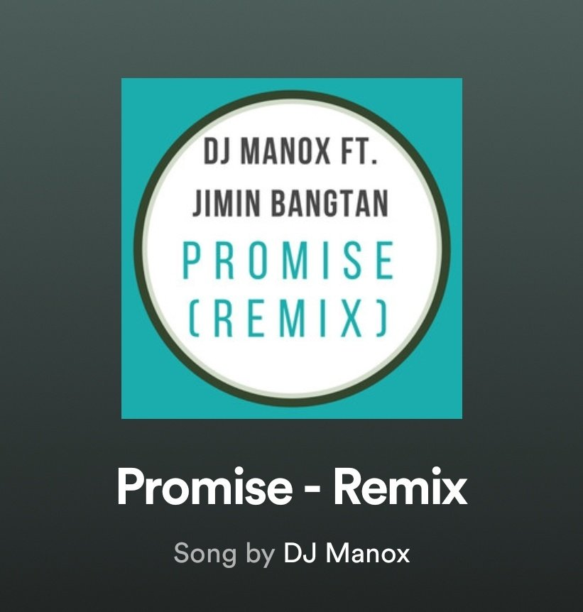 Hello @BigHitEnt @Spotify. User DJ Manox uploaded a remix of Promise by Jimin of @BTS_twt on Spotify. We kindly ask that you check on it as this seems to be a copyright infringement (spotify.com/us/legal/copyr…). We look forward to your immediate action. Thank you.