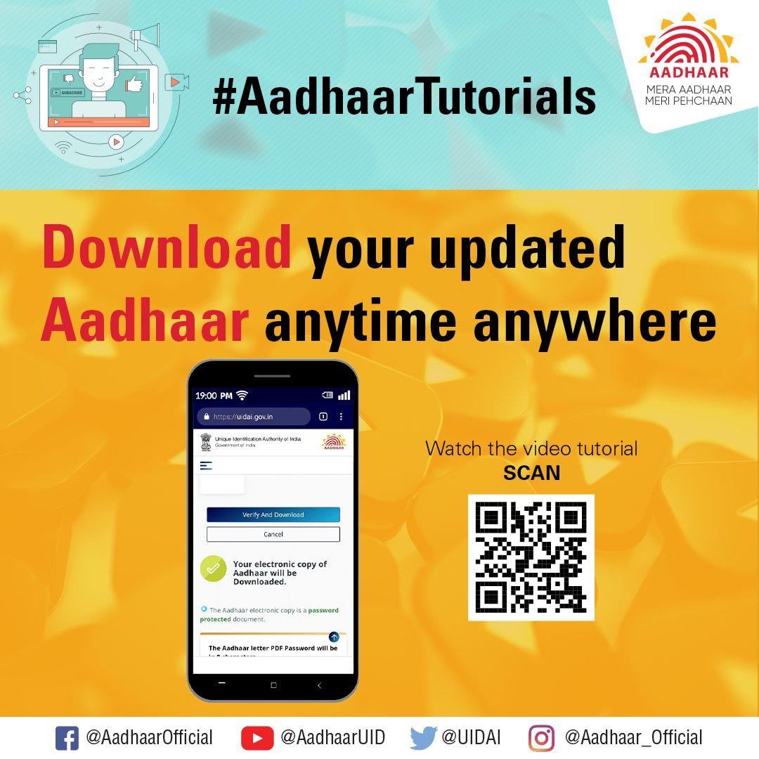 #AadhaarTutorials Watch the video  https:// youtu.be/DO0nIh9LJmA     to know how you can download your latest updated Aadhaar anytime anywhere. <br>http://pic.twitter.com/49eTkUgsf3