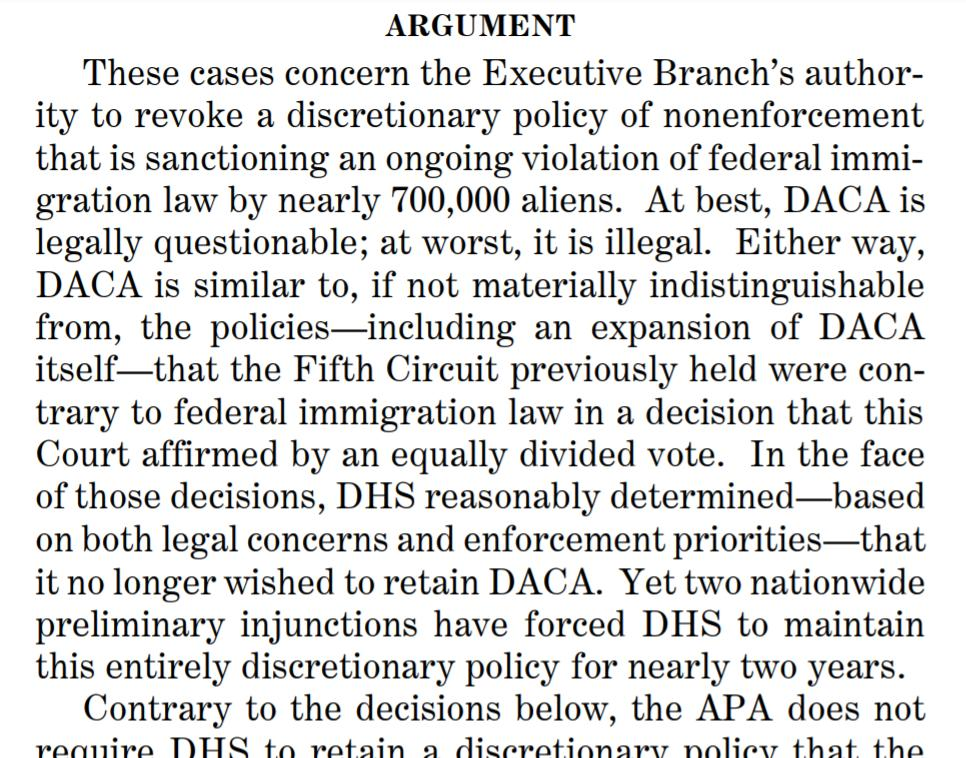 """The Trump administration has filed a brief urging the Supreme Court to allow it to pull the plug on DACA, which it describes as """"policy of nonenforcement that is sanctioning an ongoing violation of federal immigration law by nearly 700,000 aliens."""" <br>http://pic.twitter.com/sYFnDOSUjZ"""
