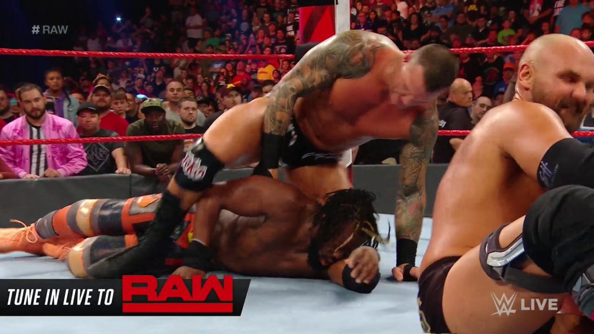 #TheViper @RandyOrton is making The #WWEChampion @TrueKofi watch as #TheRevival lays waste to @XavierWoodsPhD on #RAW! @ScottDawsonWWE @DashWilderWWE
