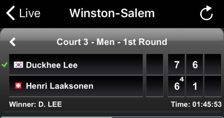 History made in Winston-Salem, as Korean 21-year-old Lee Duck-hee becomes the first completely deaf player to win an ATP main draw match. <br>http://pic.twitter.com/23taSVFiX2