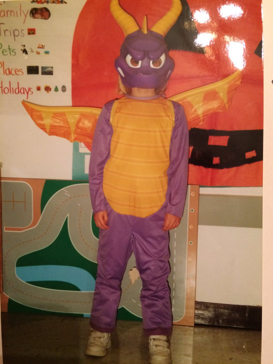 I'm soo excited for Spyro on the Switch next month!!! Here's a picture of me in a Spyro Halloween costume when I was little: