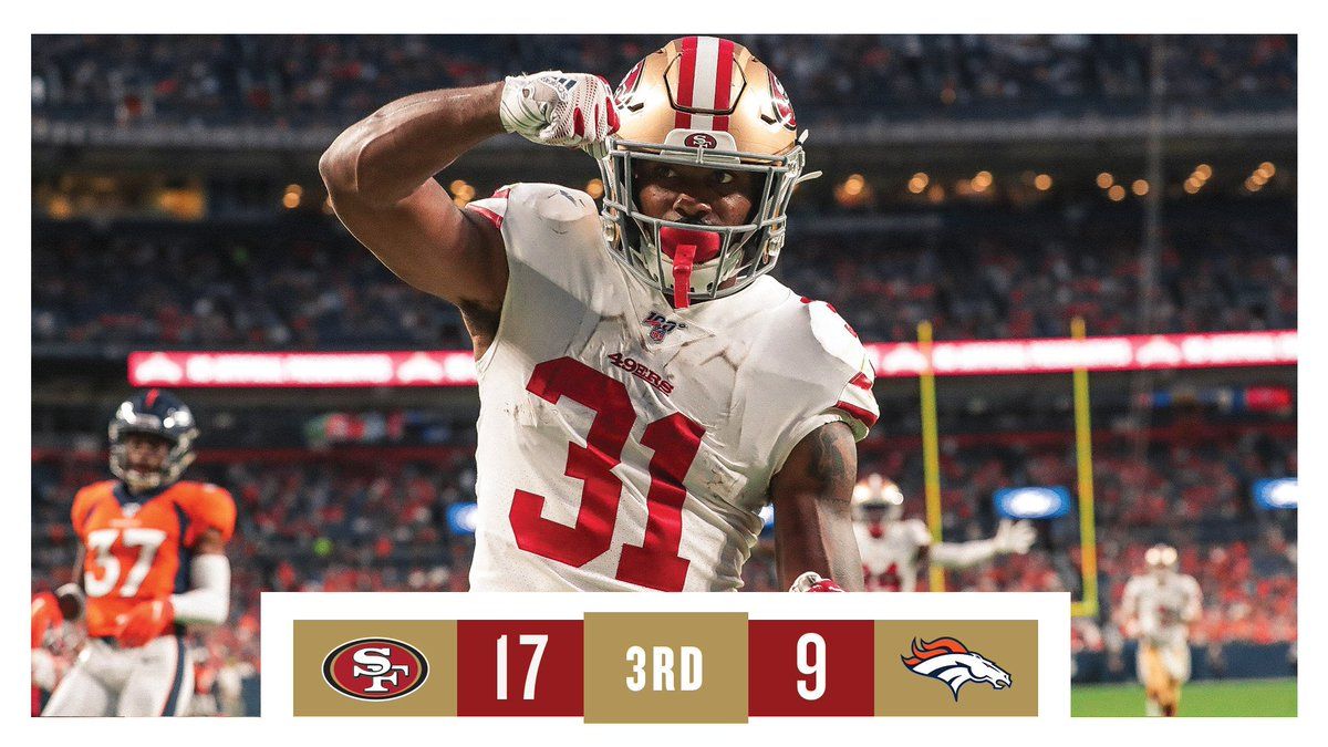 Took the lead in the 3rd! One more quarter left of MNF. #SFvsDEN