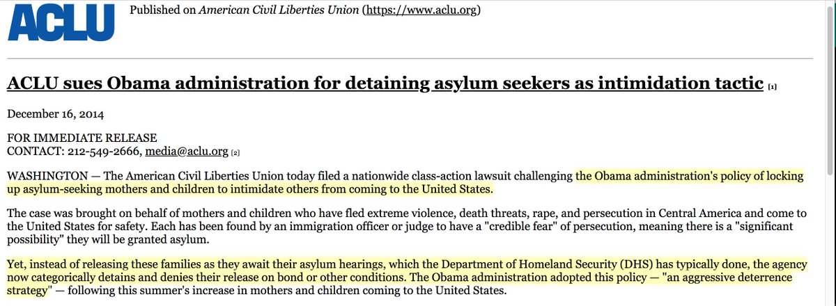 """ACLU sues Obama administration for detaining asylum seekers as intimidation tactic""  https://www. aclu.org/press-releases /aclu-sues-obama-administration-detaining-asylum-seekers-intimidation-tactic?redirect=news/aclu-sues-obama-administration-detaining-asylum-seekers-intimidation-tactic   … <br>http://pic.twitter.com/K2wQnsit3o"
