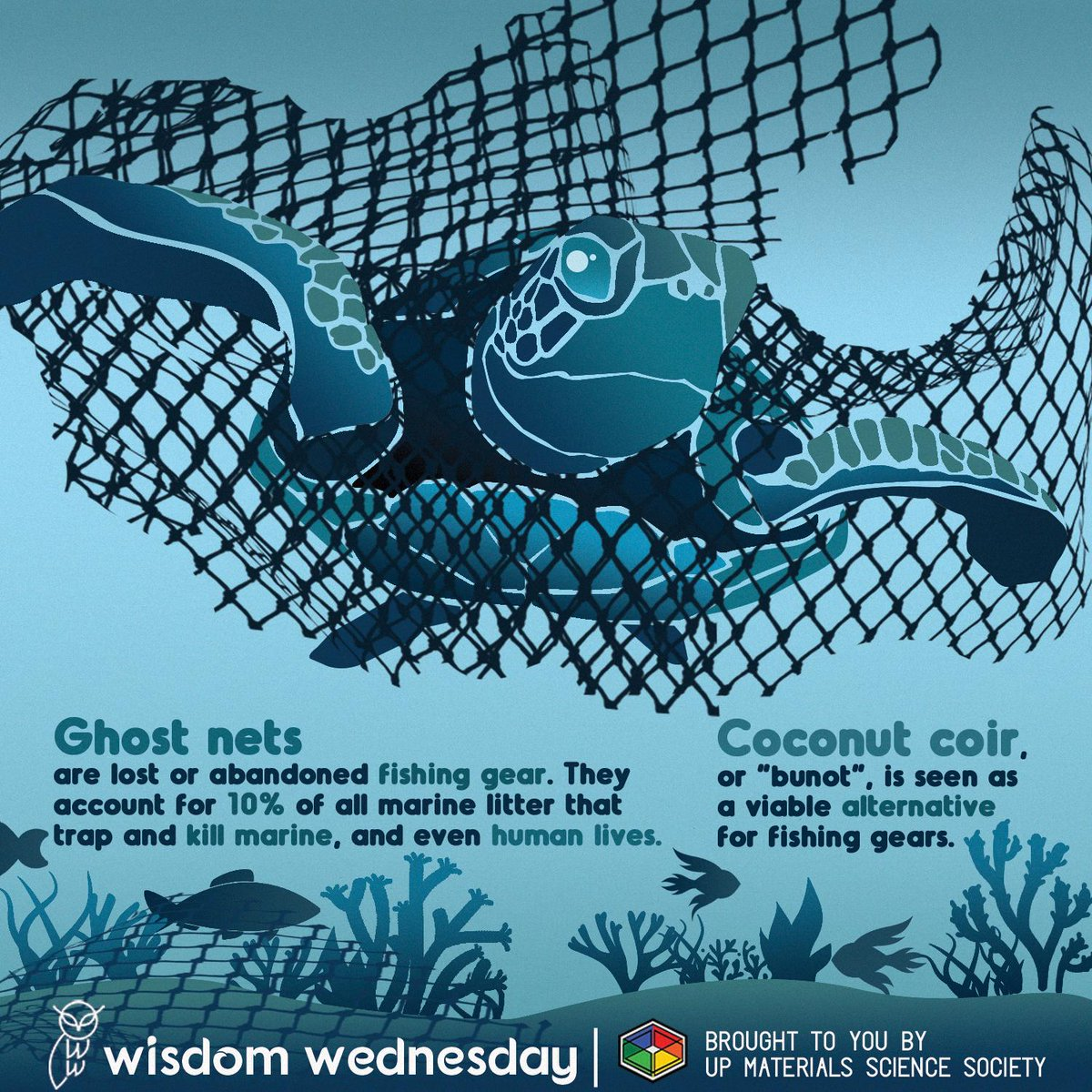 Learn about the dangers of Ghost Nets on marine life and its viable alternative on this week's Wisdom Wednesday!  READ MORE:  http:// tinyurl.com/WW1920-12        #WisdomWednesday #MaterialsScience<br>http://pic.twitter.com/YLYUQ03EyW