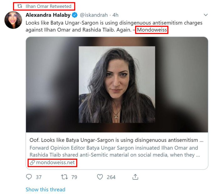Anti-Semitic Rep. Ilhan Omar (D-MN) is promoting content from a hate site to attack a Jewish woman who called her out for promoting cartoons from a man who mocked Holocaust victims