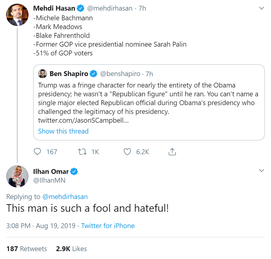 RT @RealSaavedra: Ilhan Omar is, by her own definition, inciting violence https://t.co/uNhz6YlR1i
