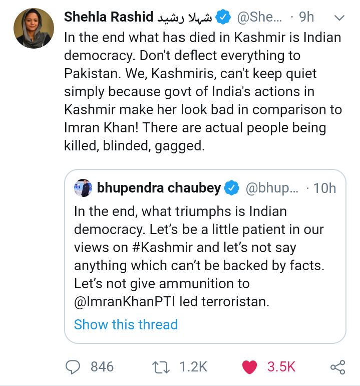 Dear indians! You can't stop this lady as you can't stop the truth from dominating the injustice. Stop yourself from believing your shitty media as the whole world mock about the credibility of your media.  #ShehlaRashid <br>http://pic.twitter.com/V1B2P3ZK7A
